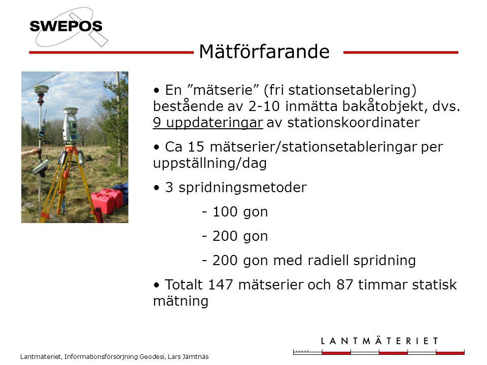 """Lantmäteriet, Informationsförsörjning Geodesi, Lars Jämtnäs • En """"mätserie"""" (fri stationsetablering) bestående av 2-10 inmätta bakåtobjekt, dvs. 9 upp"""