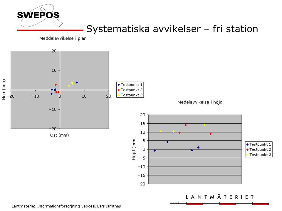 Lantmäteriet, Informationsförsörjning Geodesi, Lars Jämtnäs Systematiska avvikelser – fri station