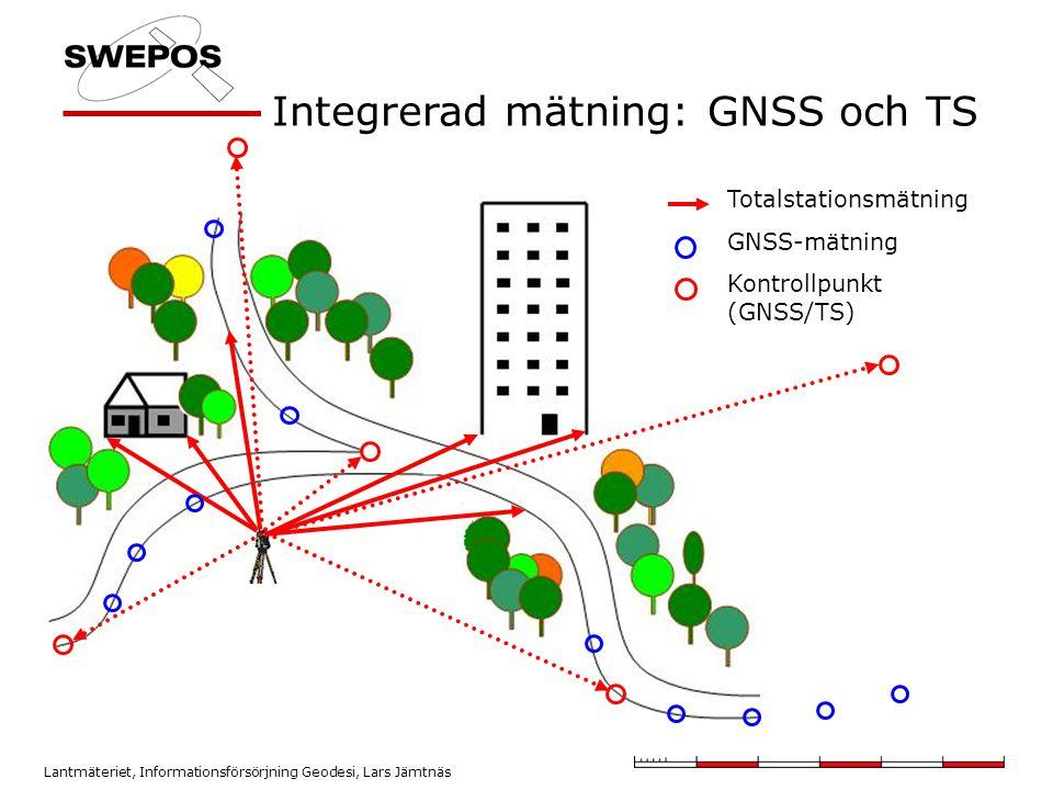Lantmäteriet, Informationsförsörjning Geodesi, Lars Jämtnäs Integrerad mätning: GNSS och TS Totalstationsmätning GNSS-mätning Kontrollpunkt (GNSS/TS)