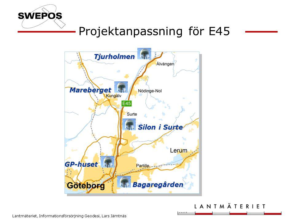 Lantmäteriet, Informationsförsörjning Geodesi, Lars Jämtnäs Förutsättningar • 3 välbestämda punkter i anslutning till E45-området med relativt fri sikt • Den projektanpassade nätverks-RTK-tjänsten (med radioutsändning) för den fria stationsetableringen • Den projektanpassade beräkningstjänsten för den statiska mätningen • Jämförelse mellan uppmätta och kända koordinater - Projektområdets referenssystem i plan: RT 90 7.5 gon V 60:-1 - Ellipsoidhöjder • Utfördes endast med ett fabrikat