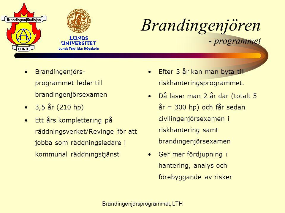 Brandingenjörsprogrammet, LTH Brandingenjören - programmet •B•Brandingenjörs- programmet leder till brandingenjörsexamen •3•3,5 år (210 hp) •E•Ett års