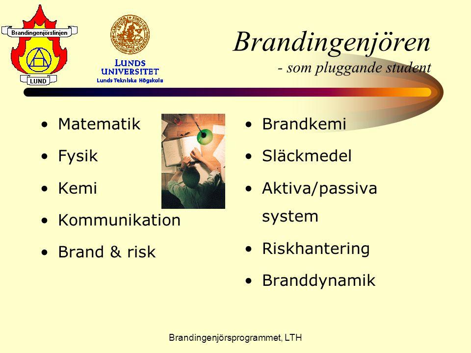 Brandingenjörsprogrammet, LTH Brandingenjören - som pluggande student •M•Matematik •F•Fysik •K•Kemi •K•Kommunikation •B•Brand & risk •B•Brandkemi •S•S