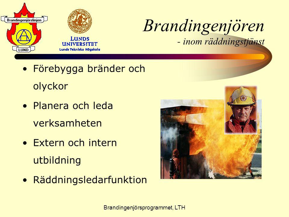 Brandingenjörsprogrammet, LTH Brandingenjören - inom räddningstjänst •F•Förebygga bränder och olyckor •P•Planera och leda verksamheten •E•Extern och i