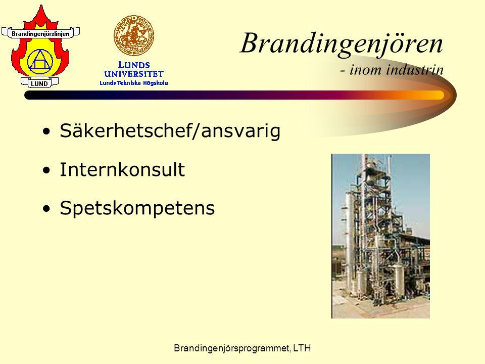 Brandingenjörsprogrammet, LTH Brandingenjören - som forskare •S•Sverige världsledande •B•Brandteknik, LTH •S•SP Sveriges Tekniska Forskningsinstitut, Borås •U•Utländska universitet