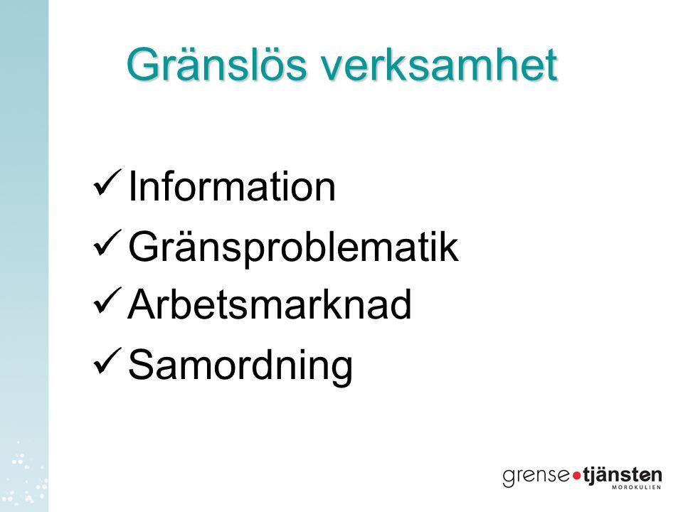 Gränslös verksamhet  Information  Gränsproblematik  Arbetsmarknad  Samordning