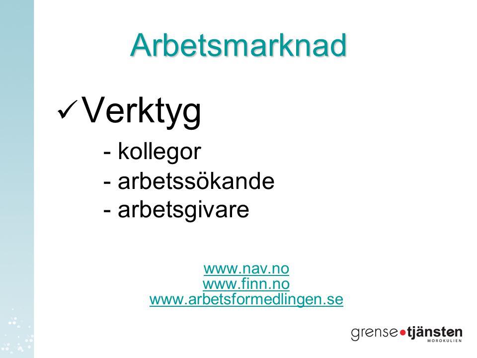Arbetsmarknad  Verktyg - kollegor - arbetssökande - arbetsgivare www.nav.no www.finn.no www.arbetsformedlingen.se