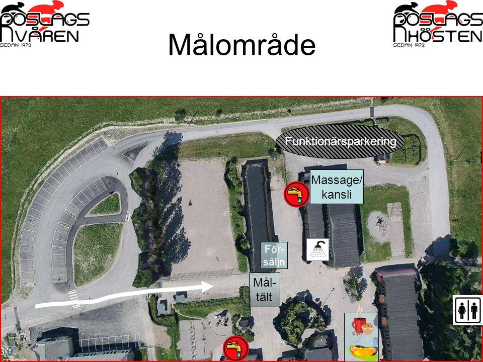 Målområde Funktionärsparkering Mål- tält Massage/ kansli För- säljn