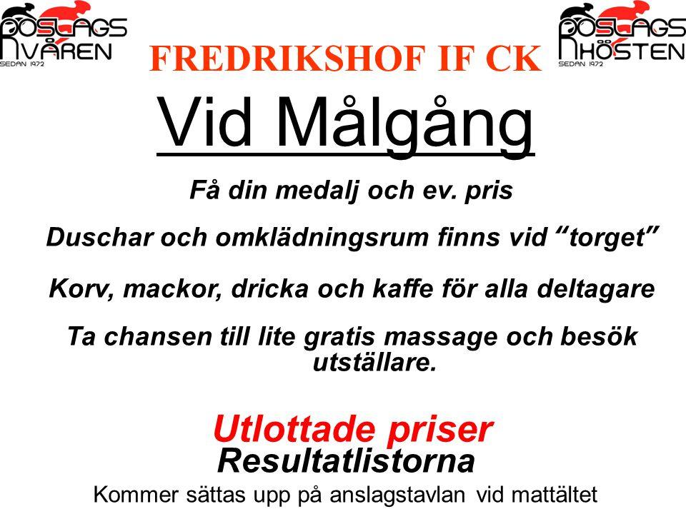 FREDRIKSHOF IF CK Vid Målgång Få din medalj och ev.