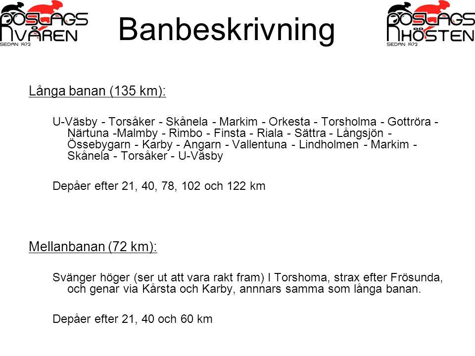 Banbeskrivning Långa banan (135 km): U-Väsby - Torsåker - Skånela - Markim - Orkesta - Torsholma - Gottröra - Närtuna -Malmby - Rimbo - Finsta - Riala - Sättra - Långsjön - Össebygarn - Karby - Angarn - Vallentuna - Lindholmen - Markim - Skånela - Torsåker - U-Väsby Depåer efter 21, 40, 78, 102 och 122 km Mellanbanan (72 km): Svänger höger (ser ut att vara rakt fram) I Torshoma, strax efter Frösunda, och genar via Kårsta och Karby, annnars samma som långa banan.