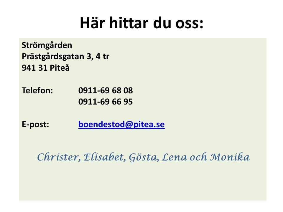 Här hittar du oss: Strömgården Prästgårdsgatan 3, 4 tr 941 31 Piteå Telefon:0911-69 68 08 0911-69 66 95 E-post:boendestod@pitea.seboendestod@pitea.se