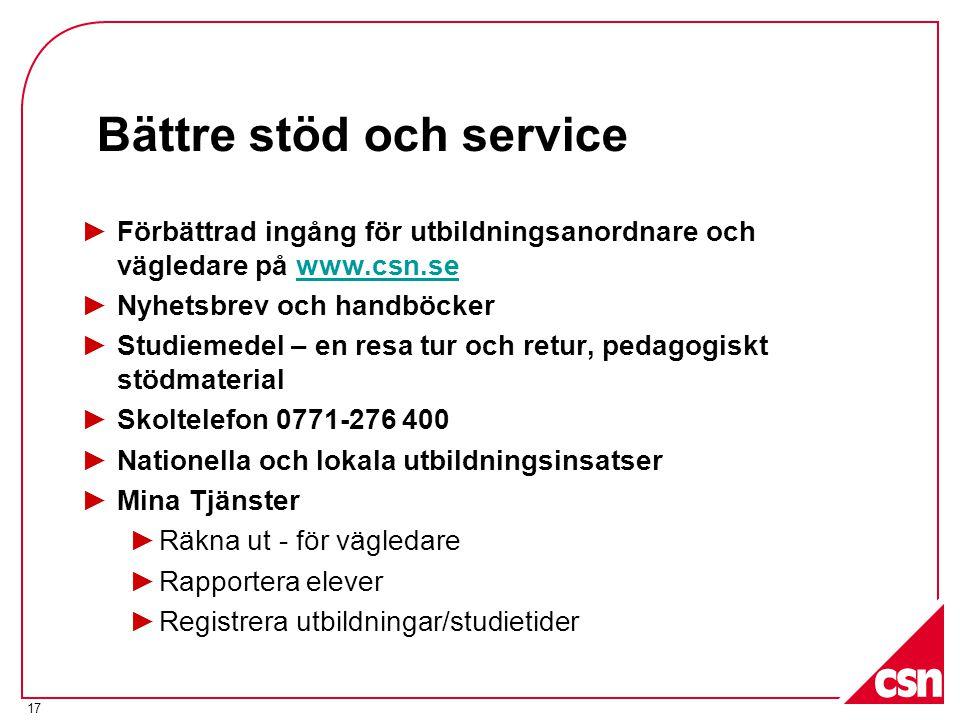 17 Bättre stöd och service ►Förbättrad ingång för utbildningsanordnare och vägledare på www.csn.sewww.csn.se ►Nyhetsbrev och handböcker ►Studiemedel –