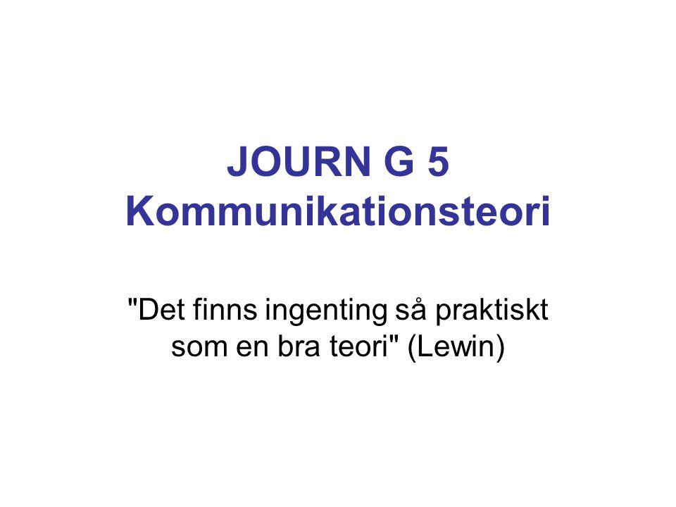 JOURN G 5 Kommunikationsteori Det finns ingenting så praktiskt som en bra teori (Lewin)