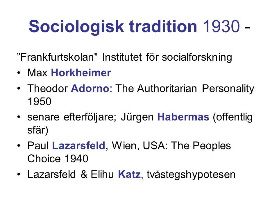 """Sociologisk tradition 1930 - """"Frankfurtskolan"""