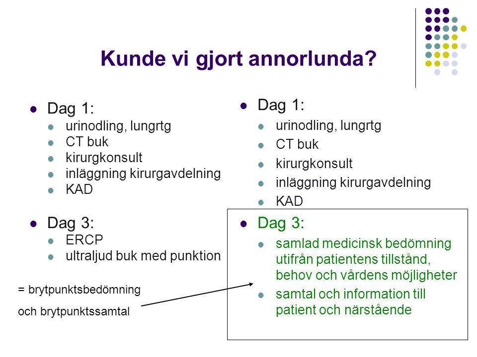 Kunde vi gjort annorlunda?  Dag 1:  urinodling, lungrtg  CT buk  kirurgkonsult  inläggning kirurgavdelning  KAD  Dag 3:  ERCP  ultraljud buk