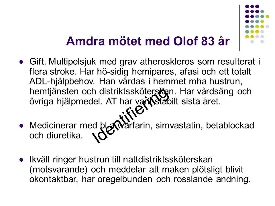 Amdra mötet med Olof 83 år  Gift. Multipelsjuk med grav atheroskleros som resulterat i flera stroke. Har hö-sidig hemipares, afasi och ett totalt ADL