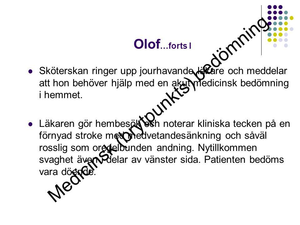 Olof …forts I  Sköterskan ringer upp jourhavande läkare och meddelar att hon behöver hjälp med en akut medicinsk bedömning i hemmet.  Läkaren gör he