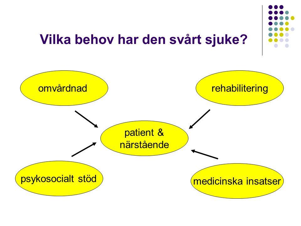 Vilka behov har den svårt sjuke? omvårdnad psykosocialt stöd rehabilitering medicinska insatser patient & närstående