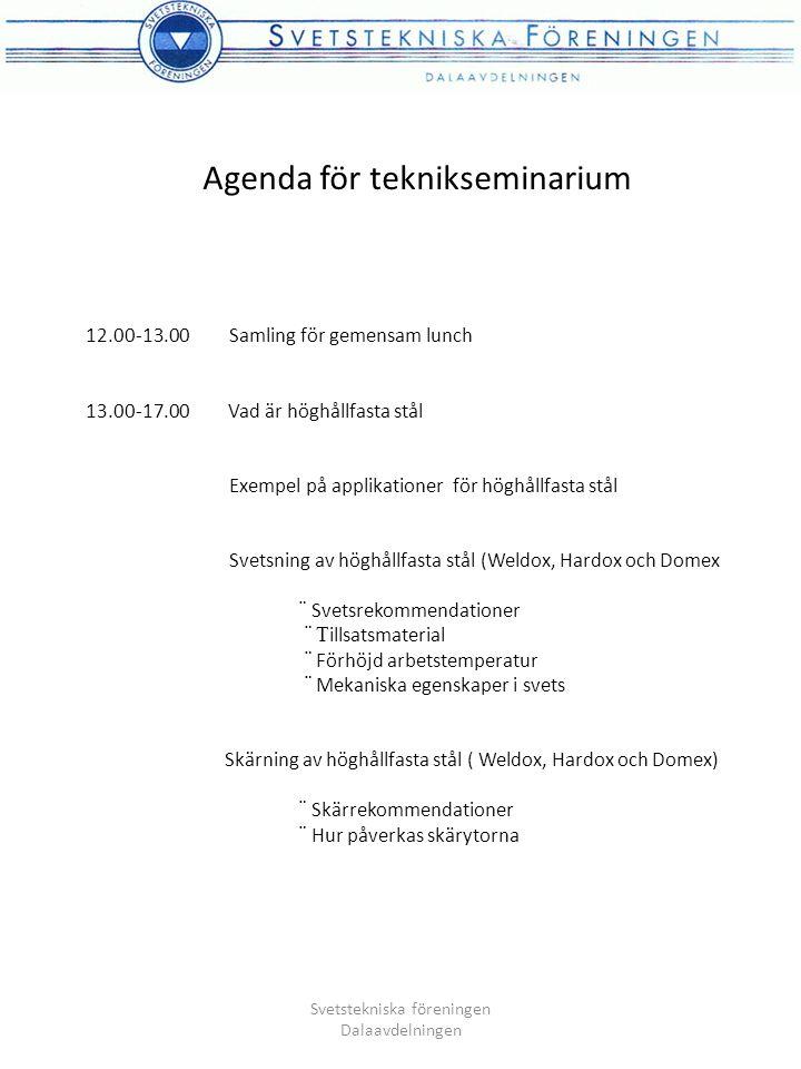 Agenda för teknikseminarium 12.00-13.00 Samling för gemensam lunch 13.00-17.00 Vad är höghållfasta stål Exempel på applikationer för höghållfasta stål