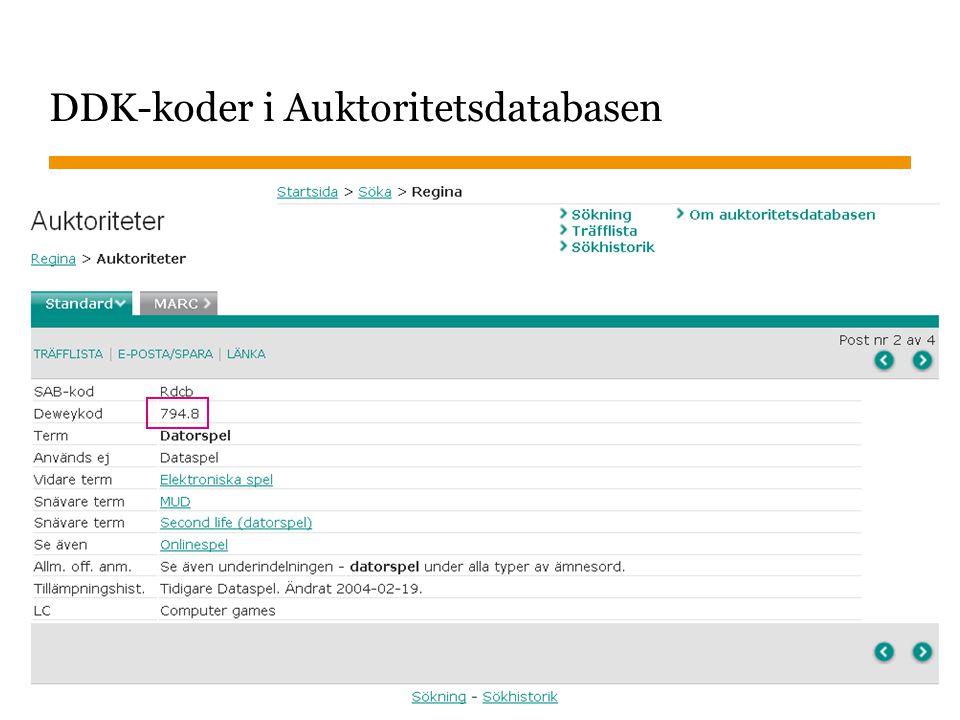 Sidnummer 2014-07-02 10 DDK-koder i Auktoritetsdatabasen