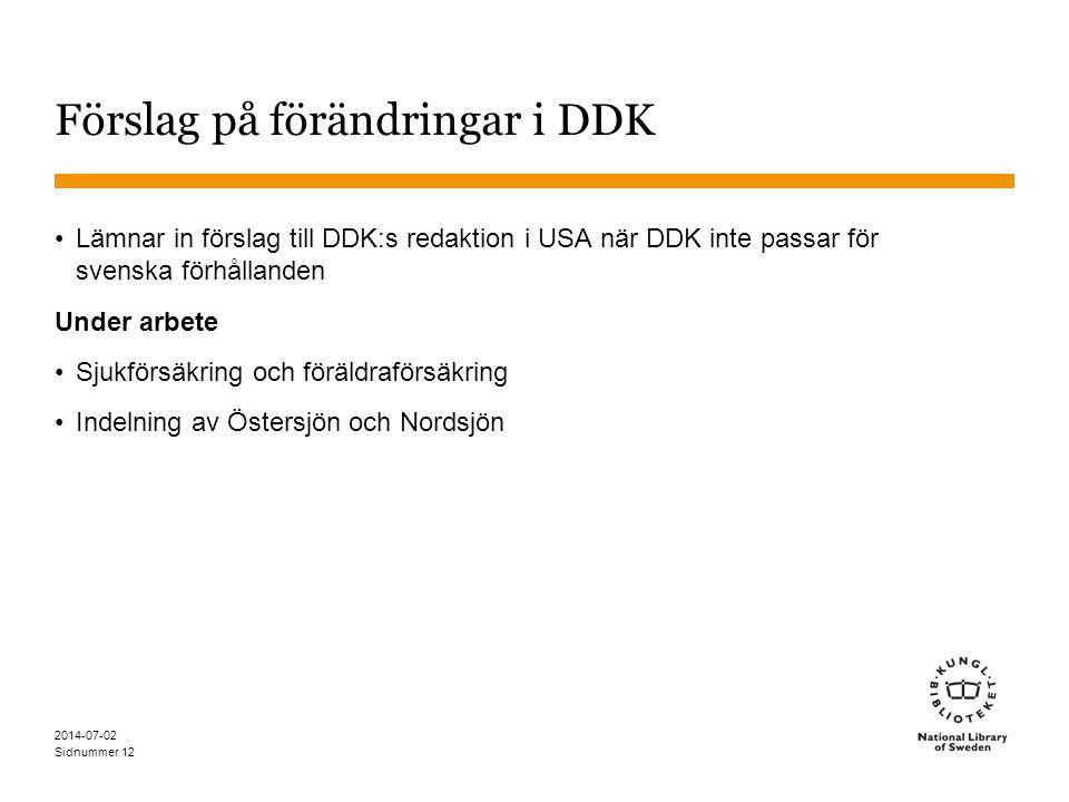 Sidnummer 2014-07-02 12 Förslag på förändringar i DDK •Lämnar in förslag till DDK:s redaktion i USA när DDK inte passar för svenska förhållanden Under