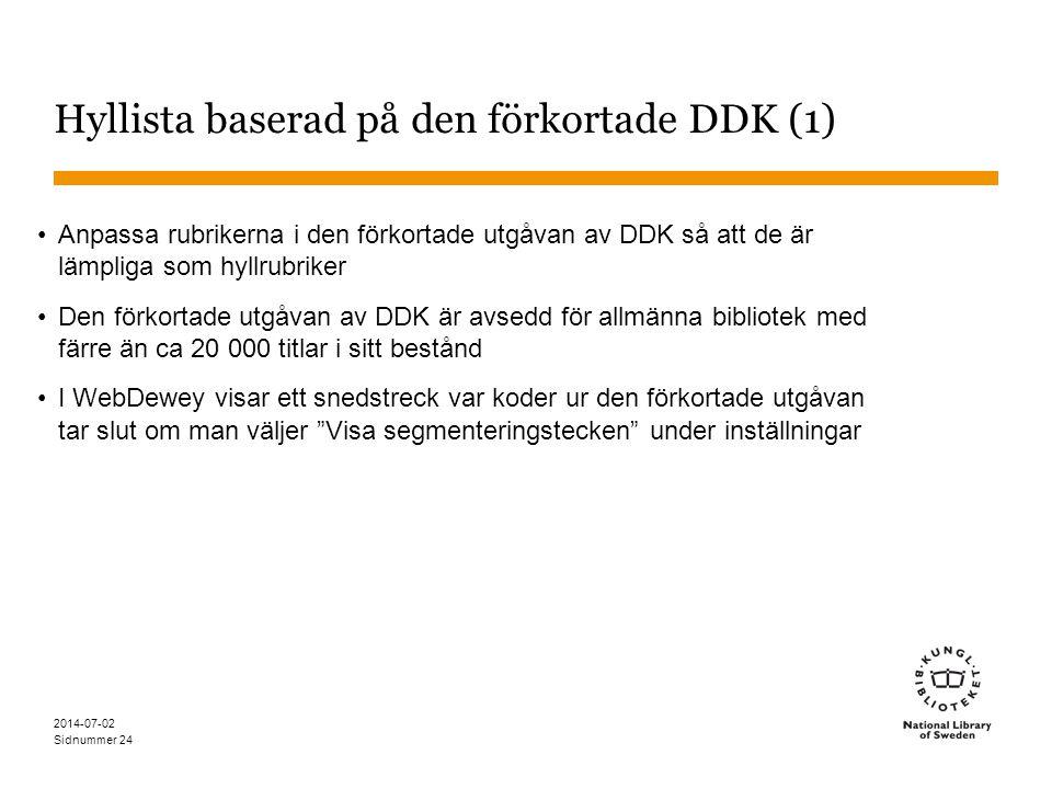 Sidnummer 2014-07-02 24 Hyllista baserad på den förkortade DDK (1) •Anpassa rubrikerna i den förkortade utgåvan av DDK så att de är lämpliga som hyllr