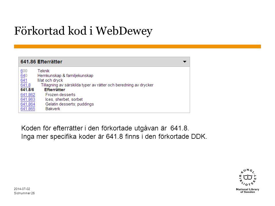 Sidnummer 2014-07-02 25 Förkortad kod i WebDewey Koden för efterrätter i den förkortade utgåvan är 641.8. Inga mer specifika koder är 641.8 finns i de