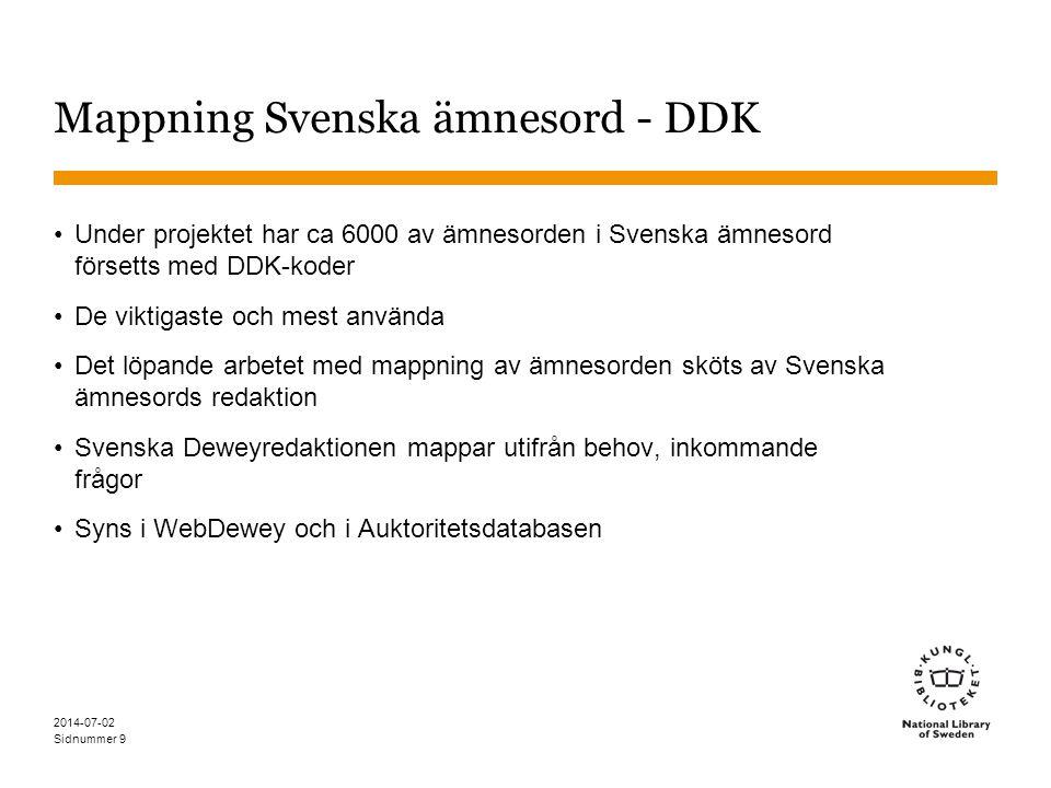 Sidnummer 2014-07-02 9 Mappning Svenska ämnesord - DDK •Under projektet har ca 6000 av ämnesorden i Svenska ämnesord försetts med DDK-koder •De viktig