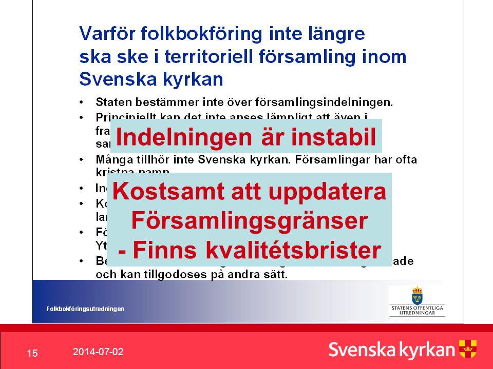 2014-07-02 15 Indelningen är instabil Kostsamt att uppdatera Församlingsgränser - Finns kvalitétsbrister