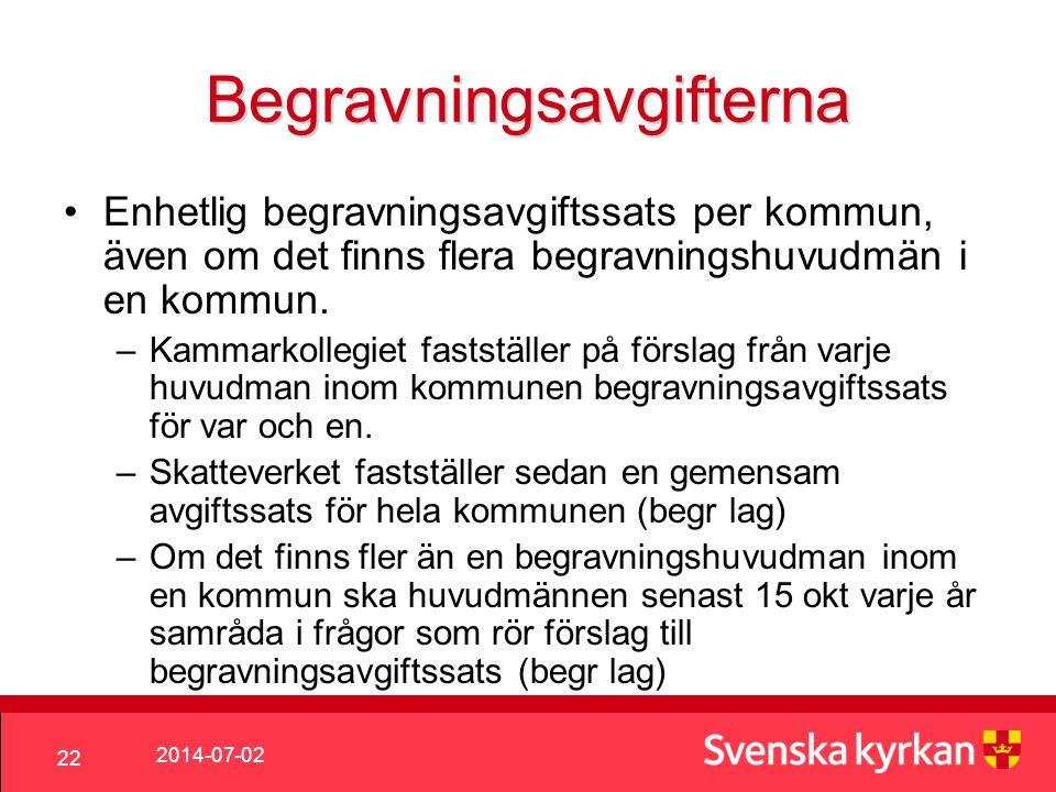 2014-07-02 22 Begravningsavgifterna •Enhetlig begravningsavgiftssats per kommun, även om det finns flera begravningshuvudmän i en kommun.