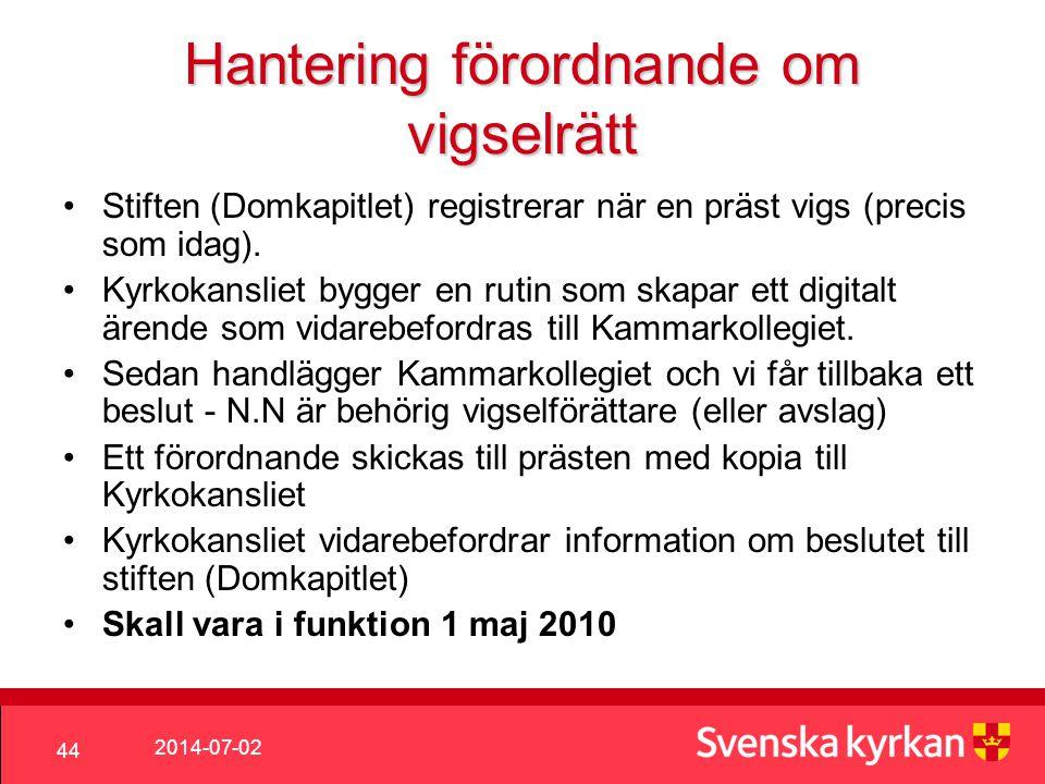 2014-07-02 44 Hantering förordnande om vigselrätt •Stiften (Domkapitlet) registrerar när en präst vigs (precis som idag).