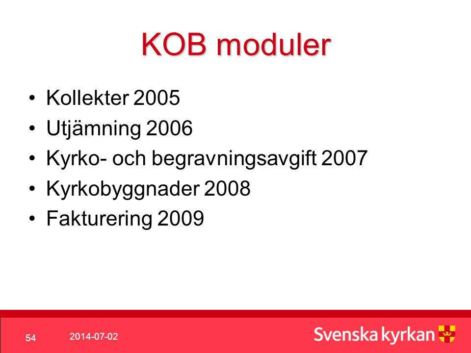 2014-07-02 54 KOB moduler •Kollekter 2005 •Utjämning 2006 •Kyrko- och begravningsavgift 2007 •Kyrkobyggnader 2008 •Fakturering 2009