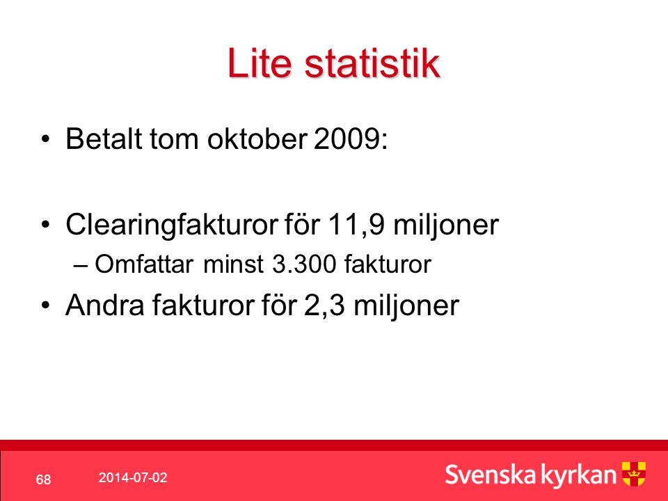 2014-07-02 68 Lite statistik •Betalt tom oktober 2009: •Clearingfakturor för 11,9 miljoner –Omfattar minst 3.300 fakturor •Andra fakturor för 2,3 miljoner