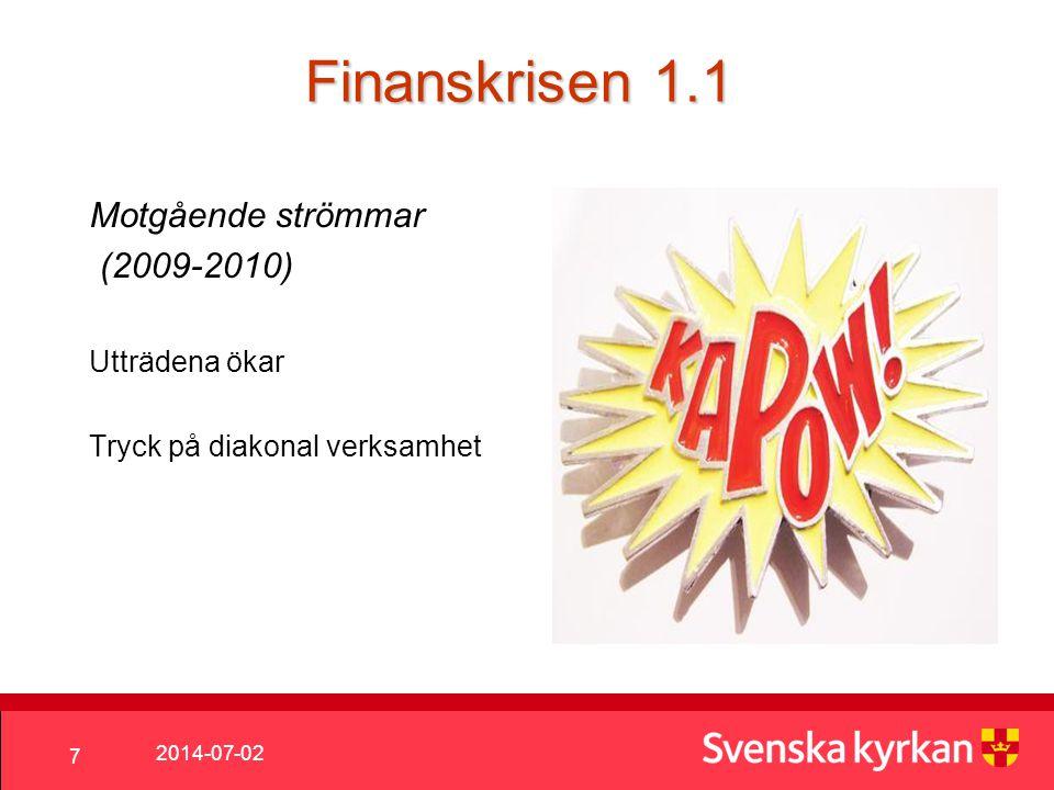 2014-07-02 7 Finanskrisen 1.1 Motgående strömmar (2009-2010) Utträdena ökar Tryck på diakonal verksamhet