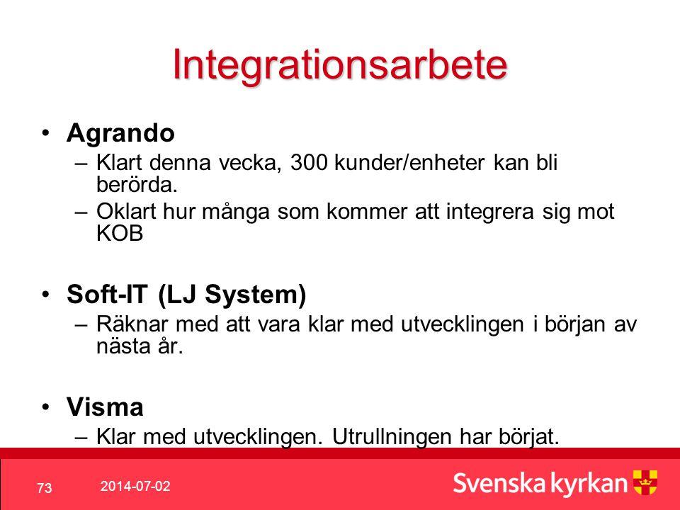 2014-07-02 73 Integrationsarbete •Agrando –Klart denna vecka, 300 kunder/enheter kan bli berörda.