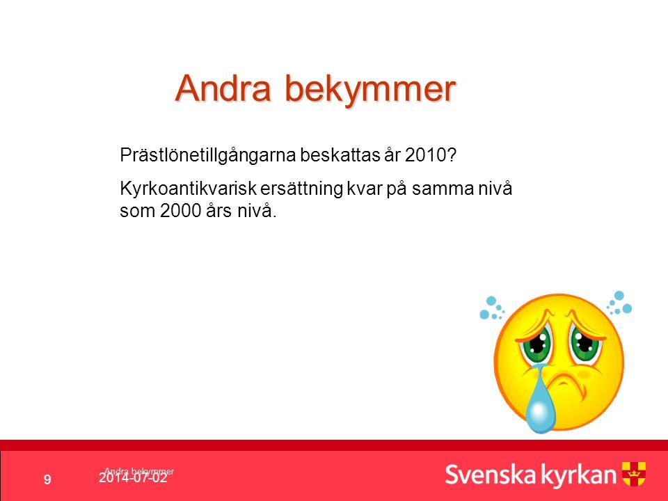 2014-07-02 9 Andra bekymmer Prästlönetillgångarna beskattas år 2010.