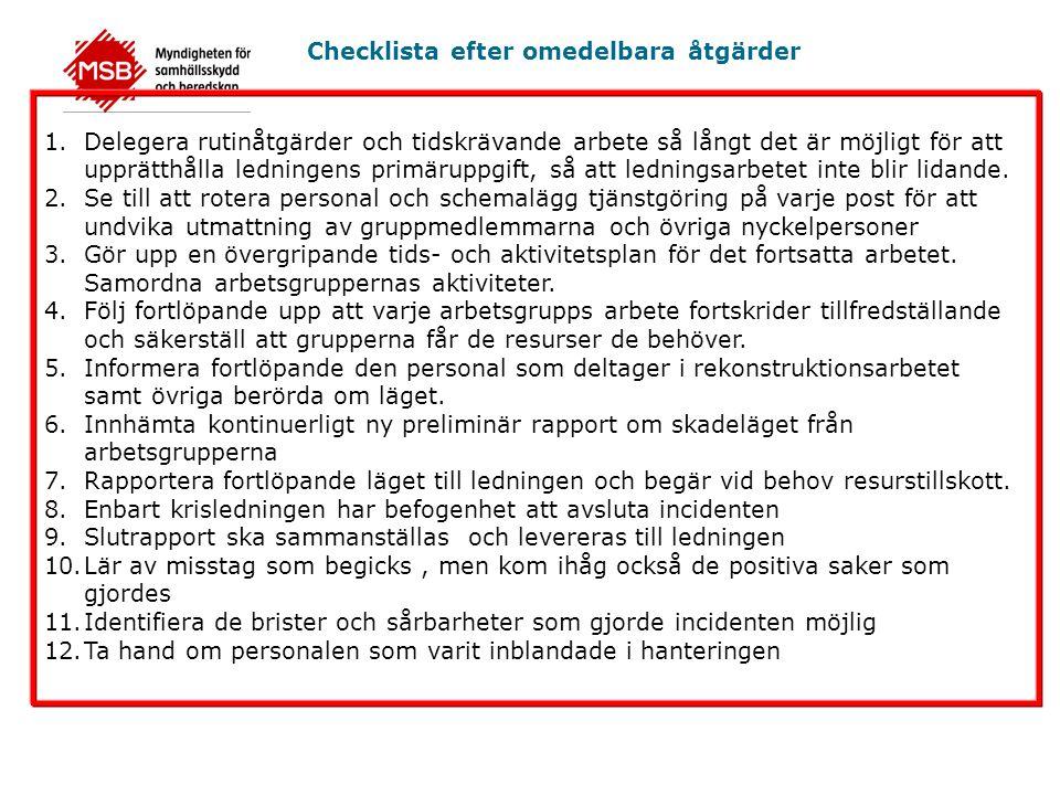 Checklista efter omedelbara åtgärder 1.Delegera rutinåtgärder och tidskrävande arbete så långt det är möjligt för att upprätthålla ledningens primäruppgift, så att ledningsarbetet inte blir lidande.