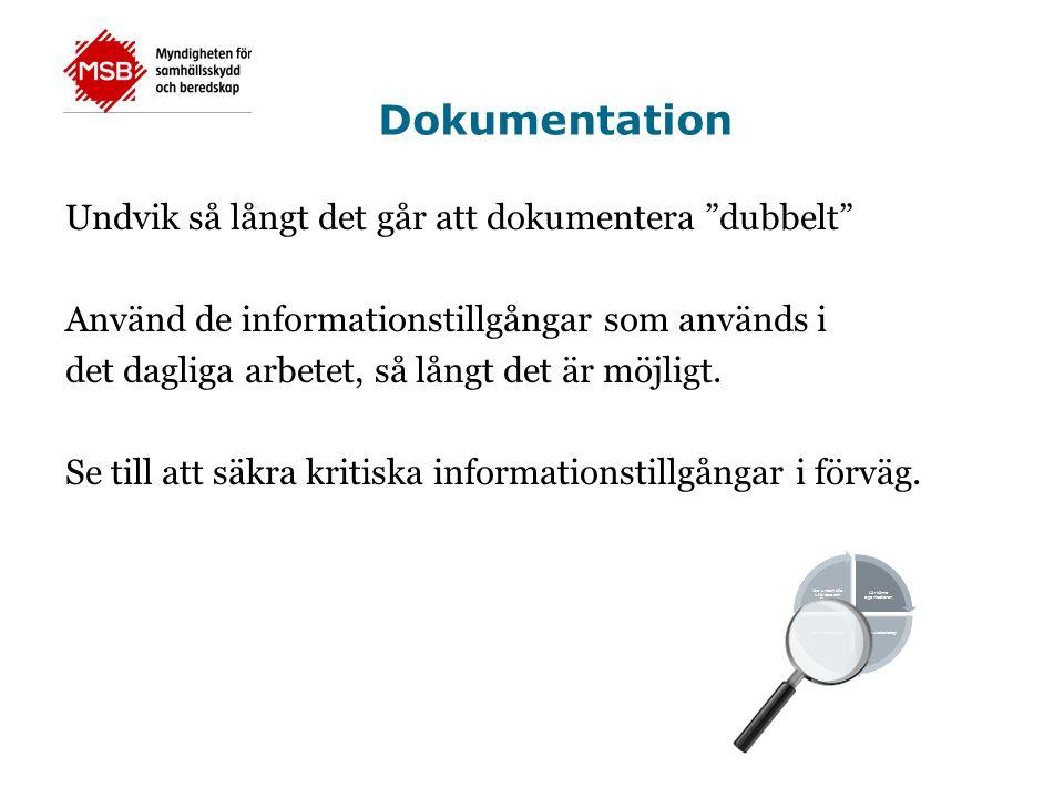 Dokumentation Undvik så långt det går att dokumentera dubbelt Använd de informationstillgångar som används i det dagliga arbetet, så långt det är möjligt.