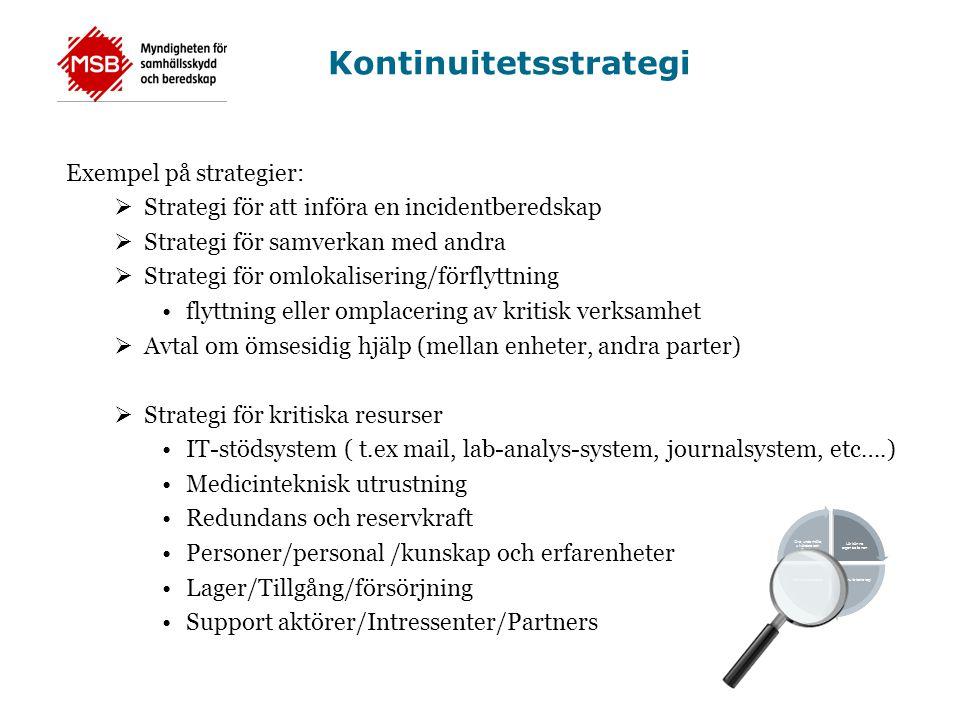 Kontinuitetsstrategi Exempel på strategier:  Strategi för att införa en incidentberedskap  Strategi för samverkan med andra  Strategi för omlokalis