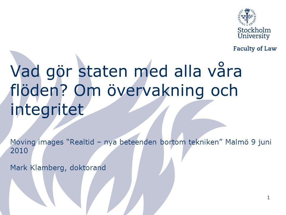 """1 Vad gör staten med alla våra flöden? Om övervakning och integritet Moving images """"Realtid – nya beteenden bortom tekniken"""" Malmö 9 juni 2010 Mark Kl"""