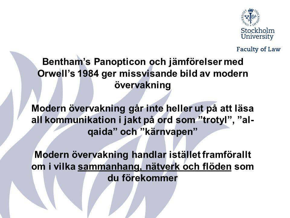 Bentham's Panopticon och jämförelser med Orwell's 1984 ger missvisande bild av modern övervakning Modern övervakning går inte heller ut på att läsa al