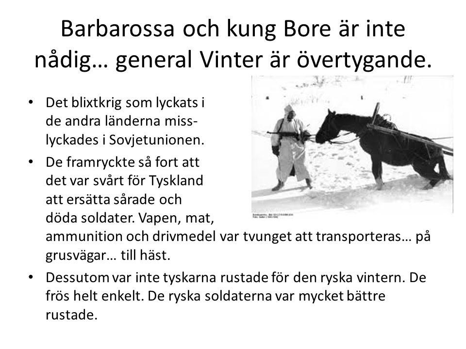 Barbarossa och kung Bore är inte nådig… general Vinter är övertygande. • Det blixtkrig som lyckats i de andra länderna miss- lyckades i Sovjetunionen.
