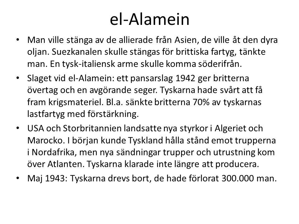 el-Alamein • Man ville stänga av de allierade från Asien, de ville åt den dyra oljan. Suezkanalen skulle stängas för brittiska fartyg, tänkte man. En