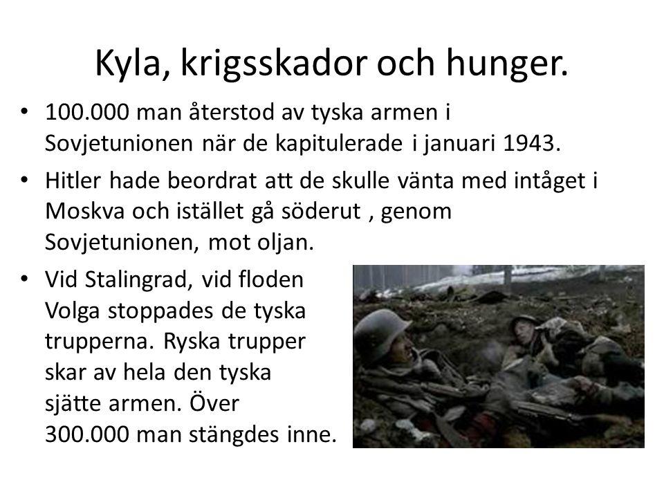 Kyla, krigsskador och hunger. • 100.000 man återstod av tyska armen i Sovjetunionen när de kapitulerade i januari 1943. • Hitler hade beordrat att de