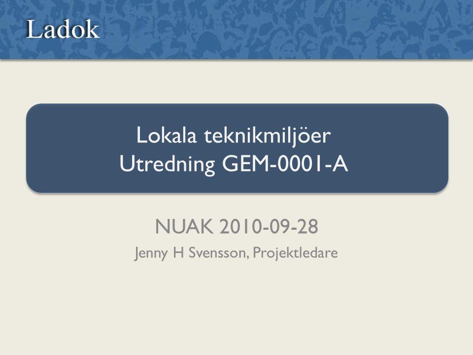Lokala teknikmiljöer Utredning GEM-0001-A NUAK 2010-09-28 Jenny H Svensson, Projektledare