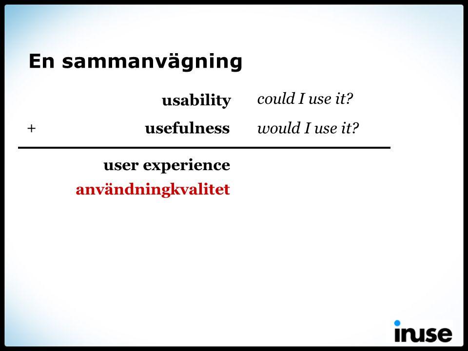 En sammanvägning usability could I use it? user experience användningkvalitet usefulnesswould I use it? +