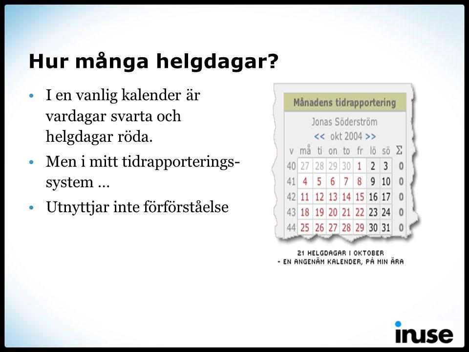 Hur många helgdagar? •I en vanlig kalender är vardagar svarta och helgdagar röda. •Men i mitt tidrapporterings- system … •Utnyttjar inte förförståelse
