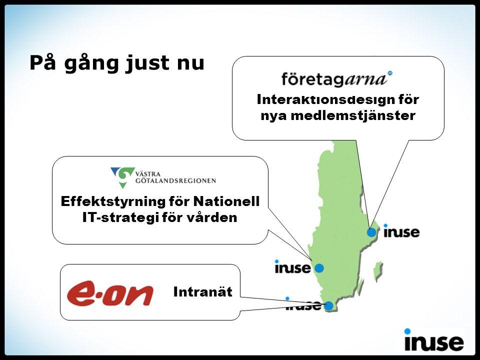 På gång just nu Interaktionsdesign för nya medlemstjänster Intranät Effektstyrning för Nationell IT-strategi för vården