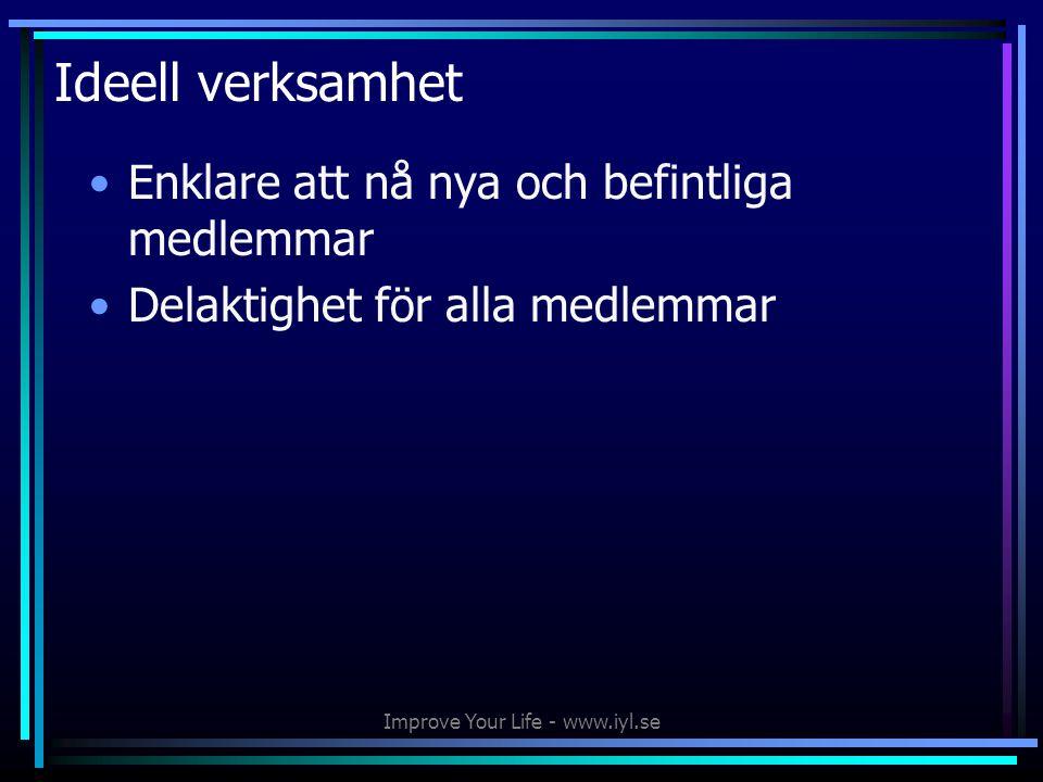 Improve Your Life - www.iyl.se Ideell verksamhet •Enklare att nå nya och befintliga medlemmar •Delaktighet för alla medlemmar