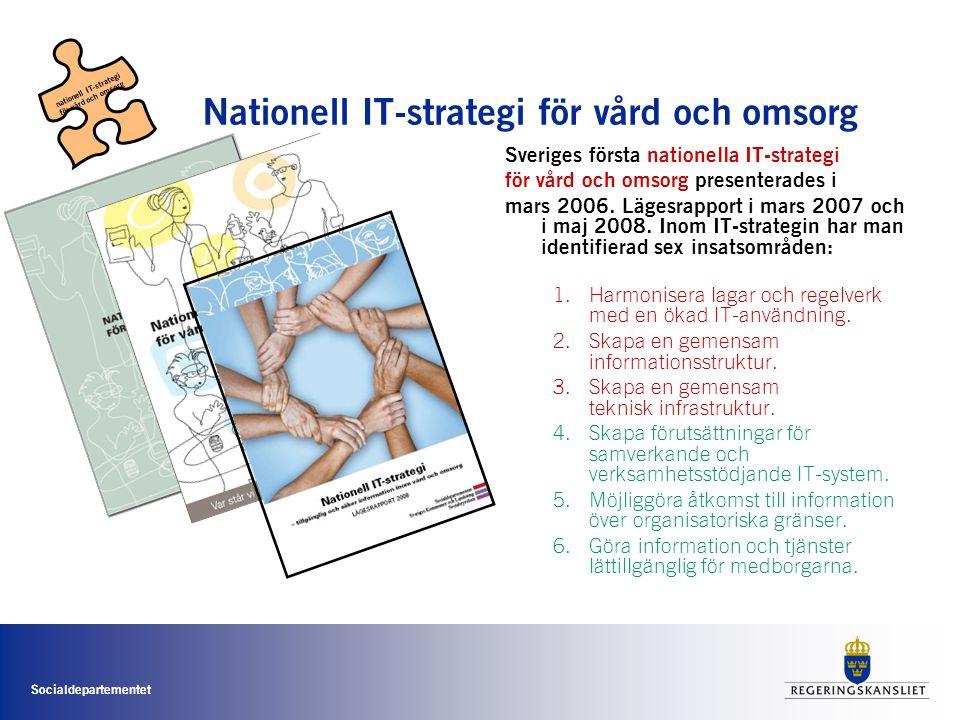 Socialdepartementet Nationell IT-strategi för vård och omsorg Sveriges första nationella IT-strategi för vård och omsorg presenterades i mars 2006. Lä