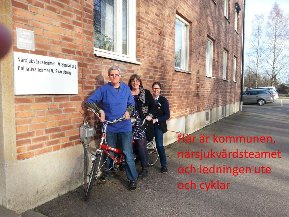 Här är kommunen, närsjukvårdsteamet och ledningen ute och cyklar